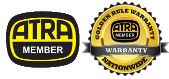 ATRA Membership badges. One says ATRA Member and the other says 'Golden Rule Warranty, Nationwide, ATRA Member
